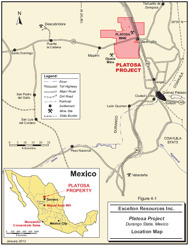 Location Map –  Platosa Property
